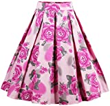 Eudolah Women's Vintage Floral Swing Full Circle Pleated Skirts