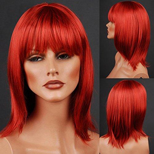 Loutoff Neu Perücke Wig Haar Weiblich Rot Mittlang Glatt (Weibliche Perücken)