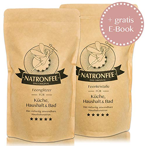 Natron 2kg Set - feines & grobes Salz/Backsoda, Lebensmittelqualität aus Deutschland E500(ii) NaHCO3.