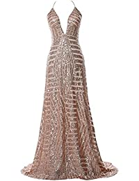 7e32fffbed45 MACloth Women Deep V Neck Sequin Long Prom Dress Sexy Formal Party Evening  Gown