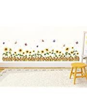 Solimo Wall Sticker for Home (Sunflower Fence,  ideal size on wall ,  133 cm X 35 cm)
