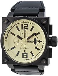 Welder K23 - Reloj cronógrafo de caballero de cuarzo con correa de piel negra - sumergible a 50 metros