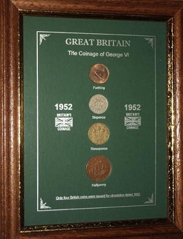 Framed 1952 GB Great Britain British Coin Birth Year Vintage Retro Gift Set (65th Birthday Present or Wedding Anniversary)