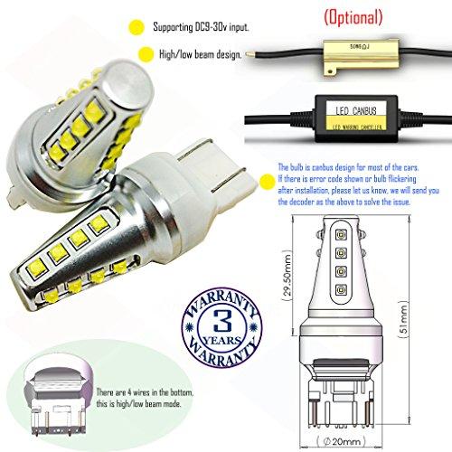 Preisvergleich Produktbild Wiseshine 7443 w21 5w t20 w3x16q autolampe led auto bulb DC9-30v 3 Jahre Qualitätssicherung (Satz von 2) 7443 16 led hohe Leistung grün