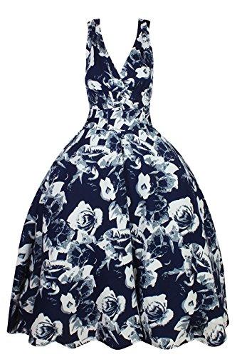 Femmes Rétro Vintage Pin Up Rockabilly Robe Évasée Fête Robe Motif Floral Bleu