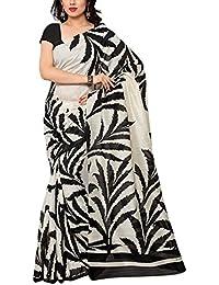 Applecreation Women'S Art Silk Printed Saree (Black And White, Wom8042)
