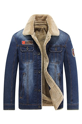 Winter Herren Denim Felljacke Jeansjacke Blau Steppjacke Mantel Fleecejacke 66009A