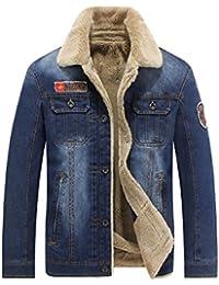Hommes d'hiver Blousons Casual Denim Jeans plus velours chaud 66009A