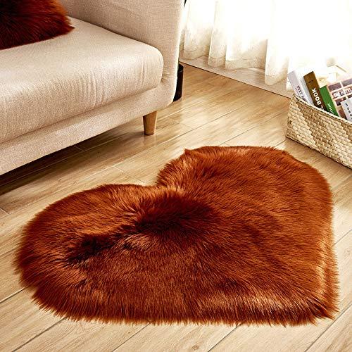 GXLO Kunstpelz-Schaffell-Teppich (30 X 40 cm) Faux-Fleece-Stuhlabdeckung Sitzkissen Weiche Flauschige Shaggy-Teppiche Für Schlafzimmer-Sofa-Boden,Brown,30 * 40Cm Brown Böden