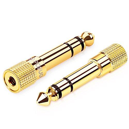 Klinke Adapter 3.5mm auf 6.35mm 2 Stück, Posugear 6.35 Klinkenstecker auf 3.5 Klinken Buchse aux Audio Adapter mit Vergoldete Kontakte für Kopfhörer oder Lautsprecher -