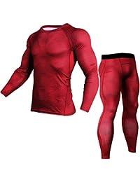 JEELINBORE Homme 2 Pièces Vêtements de Sport Shirt + Collant Running  Ensemble de Fitness Base Layer T-Shirts… da6cd3aca53
