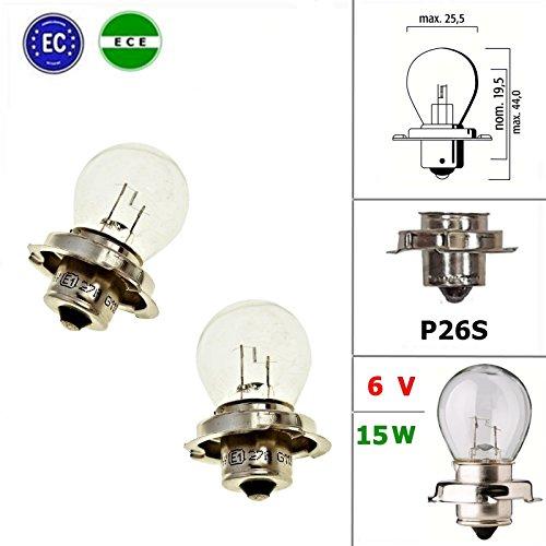 2x 6V Qualitäts Glühlampe Lampe mit E-Zeichen - P26S - 15W - für Kreidler Zündapp Hercules Mofa Mokick