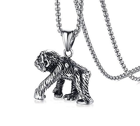 Vnox Männer Edelstahl Affen Affe nette Tier hängende Halsketten Zinn,freie Weizen Kette