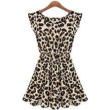 hrph Leopardo atractivo sin mangas de cuello redondo del oscilación de la túnica del mini vestido