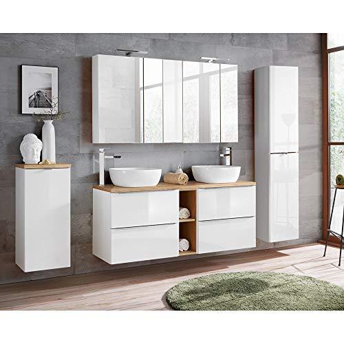 möbel Set mit Doppel-Waschtisch inkl. 2 Keramik-Aufsatzbecken 50cm, Wotaneiche & Hochglanz weiß, inkl. LED-Spiegelschrank ()