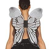 Amakando Atractivas alas de Hada para Dama / 46 x 54 cm en Plateado / Alas universales para Disfraz de Cuento de Hadas / Inmejorable para carnavales y Festivales