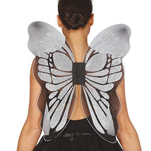 NET TOYS Schmetterlingsflügel Erwachsene | 46 x 54 cm in Silber | Zauberhaftes Damen-Kostüm-Zubehör Elfenflügel Fee | EIN Blickfang für Mottoparty & Karneval