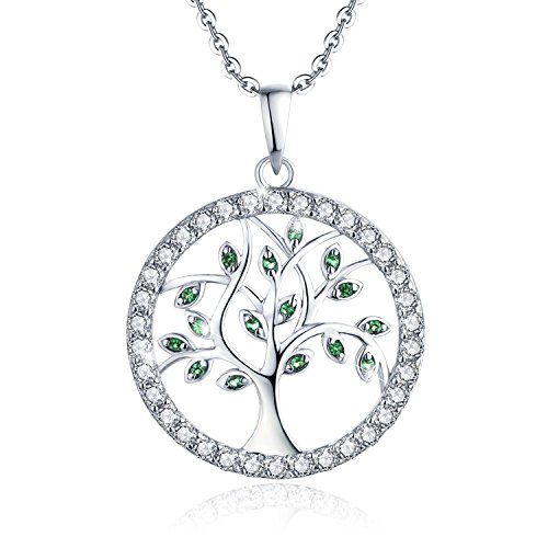 YL Halskette Baum Des Lebens-925 Sterlingsilber Simulierter Smaragd und Zirkonia Lebensbaum Anhänger Kette für Damen Mädchen Mutter, Kettenlänge 45-50 cm