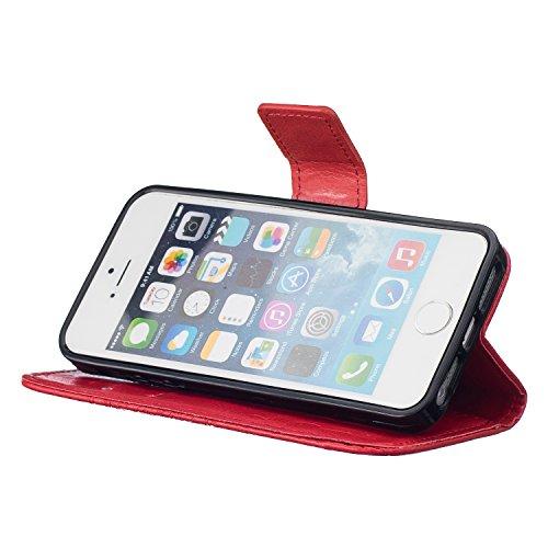Qiaogle Téléphone Coque - PU Cuir rabat Wallet Housse Case pour Apple iPhone 7 (4.7 Pouce) - TX22 / Couple Pissenlit (Bleu) TX26 / Couple Pissenlit (Rouge)