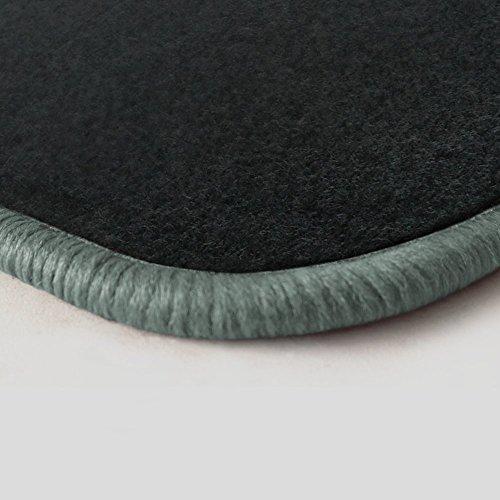 (Randfarbe nach Wahl) Passgenaue Fußmatten aus Nadelfilz Graphit mit silbergrauem Rand (502) (2004 Toyota Corolla Fußmatten)