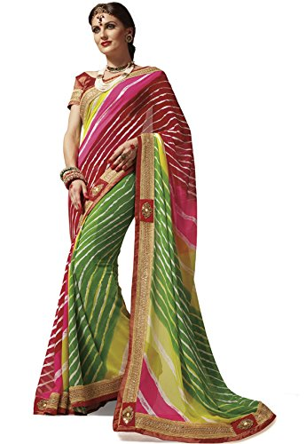 EthnicJunction Bandhej Sarees Rajasthani Zari Lace Border Georgette Sarees With Unstitched Brasso...