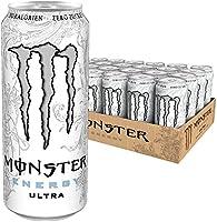 Monster Energy Flavour Ultra White mit mildem Zitronengeschmack - ohne Zucker & mit wenig Kalorien / Energy Drink Palette mit 24 x 500ml Dosen