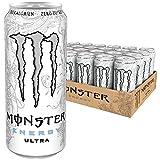Monster Energy Flavour Ultra White mit mildem Zitronengeschmack - ohne Zucker & mit wenig Kalorien/Energy Drink Palette mit 24 x 500ml Dosen