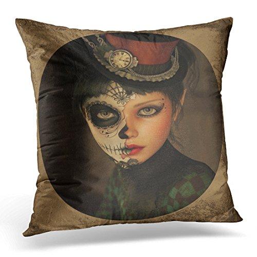 Duplins Death 3D Computer Grafik von Mädchen mit Sugar Skull Make-up und Topper Her Head Mask Dekorativer Kissenbezug 40,6 x 40,6 cm
