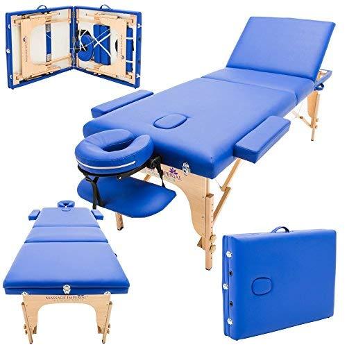 Massage Imperial® - tragbare Profi-Massageliege Chalfont - leicht 16 Kg - 3 Zonen - 3 teilig Blau
