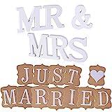 AONER MR & MRS Deko Buchstaben Hochzeit (inkl. Banner JUST Married) Dekobuchstaben Girlande Dekoration (Weiß)
