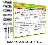 Calendrier de tableau blanc Magnétique A3 - Tableau mémo pour la planification quotidienne du bureau de la cuisine - Tableau blanc pour réfrigérateur - 3 marqueurs et une gomme comprendre (Vert)