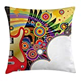Easshorts Music Throw Pillow Cushion Cover, Electric Guitar with Colorful Spirals Circles Rock and Roll Pop Rhythm Graphic Design, Decorative Square Accent Pillow Case, 18 x 18 Inch