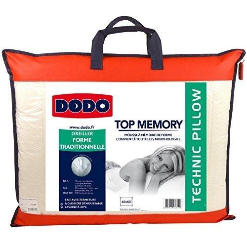 Do Wrap Performance Headwear Dodo - Cuscino Top Memory classico, 40 x 60 cm, colore: Bianco