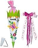 Unbekannt BASTELSET Schultüte -  Schmetterling & Blumen  - 85 cm - incl. großer Schleife + Name - mit / ohne Kunststoff Spitze - Zuckertüte - Set zum selber Basteln -..