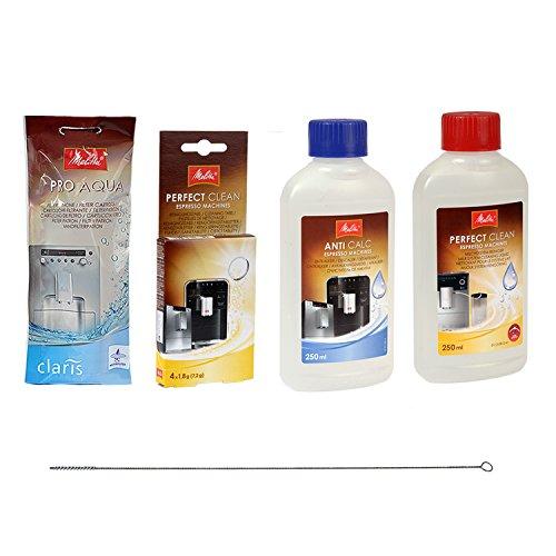 1 x MELITTA PRO AQUA Wasserfilter + MELITTA PERFECT CLEAN Reinigungstabs + MELITTA ANTI CALC Flüssigentkalker + MELITTA PERFECT CLEAN Milchsystem-Reiniger + QUVIDO Reinigungsbürste
