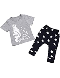 a4ea19d44 Boys Outfit Set,Malloom 1Set Baby Kids Boys Clothes Short Sleeve Printing T- shirt+Long…