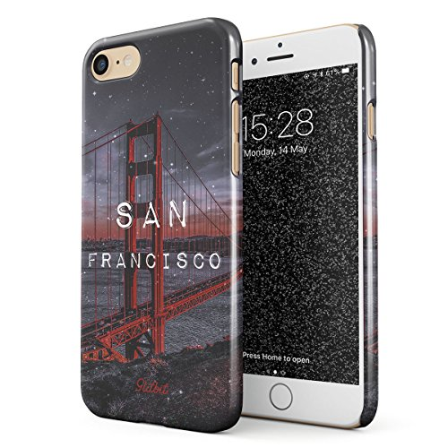 tibel mit iPhone 7/8 San Francisco Golden Gate Bridge SF Califronia Cali USA Amerika Dünn Robuste Rückschale aus Kunststoff Handyhülle Case Cover ()