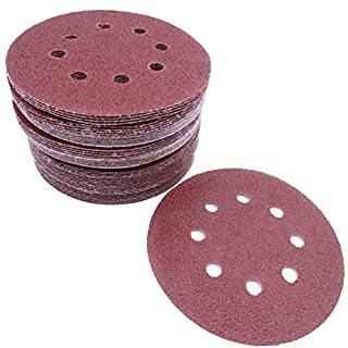 Maveek 60 Pieces 8-Holes Discs Pads 5 Inch/ 125 mm Hook and Loop 40/ 60/ 80/ 120/ 180/ 240 Assorted Grits 6 Models, Each Model 10 Pieces Sandpaper Sanding Discs Pads for Random Orbital Sander