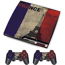 PS3 Skins Jeux PS3 Stickers Console Sony PS3 Vinly Decals for Playstation 3 Slim Système - Drapeau français