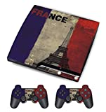 Sony PS3 Slim Sticker - Aufkleber Schutzfolie für Playstation 3 PS3 Slim Konsole mit 2 Aufkleber für Playstation DualShock 3 Wireless Controller - French Flag