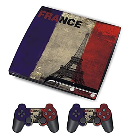 PlayStation 3 PS3 Slim Sticker - Aufkleber Schutzfolie für Sony Playstation 3 PS3 Slim Konsole mit 2 Aufkleber für Playstation DualShock 3 Wireless Controller French