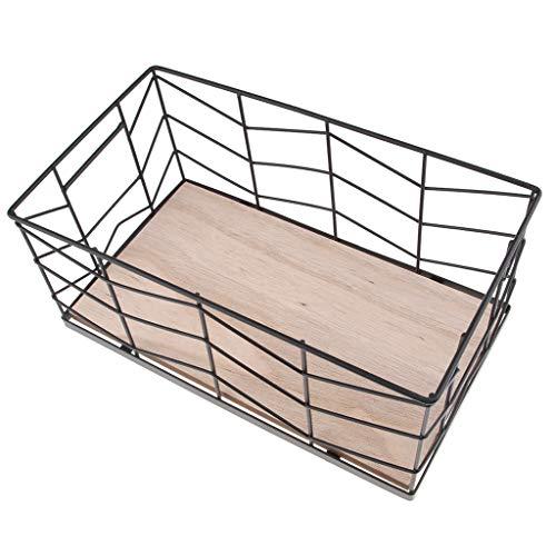 Baoblaze Schmuck Aufbewahrungskorb Metall Drahtkorb Haus Organizer Eisen Aufbewahrungsbox, 30x17x13cm - Schwarz