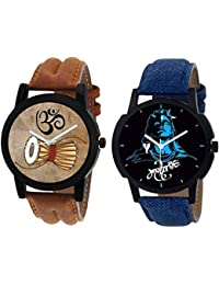 Xforia Boys Watches Brown & Blue Color Dial Watch For Men Combo Pack Of 2 (RG-FLX-7)