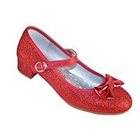 Girls Red Sparkly Glitter Low Heeled Party Shoes for All Special Occasions
