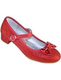 Sparkle Club Rojo de Niñas Brillante Tacón Bajo Zapatos Fiesta Dorothy Estilo