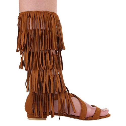 Ital-Design - Scarpe con cinturino alla caviglia Donna Cammello