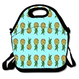 Fgrygf Lunch Boxes Tiny Pineapples On Turquoise Lunchbox Food Container Lunch Tote Handbag Designer Lunch Box for Work, Office, School