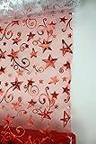 Deko-Stoff Rolle Organza 5m x 48cm rot 1 Stück - mit Sternen
