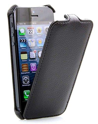 StilGut SlimCase, housse exclusive pour iPhone 5, 5s & iPhone SE à clapet en noir Noir