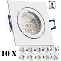 10er IP44 LED Einbaustrahler Set Weiß mit LED GU10 Markenstrahler von LEDANDO - 4,5W - warmweiss - 120° Abstrahlwinkel - Feuchtraum / Badezimmer - 30W Ersatz - A+ - LED Spot 4,5 Watt - eckig